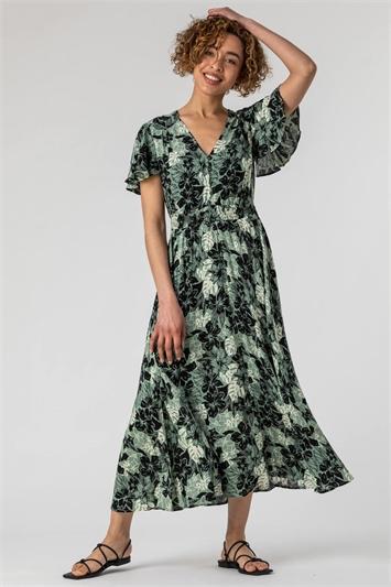Green Floral Print Tiered Maxi Dress