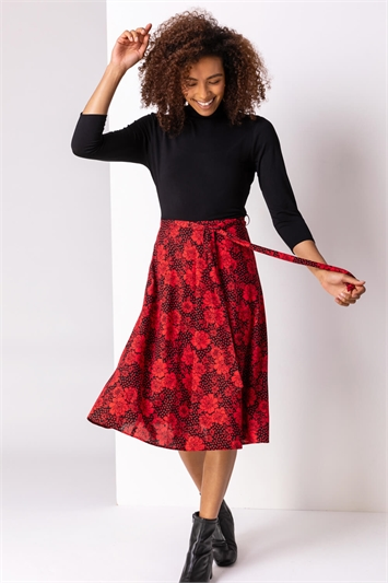 Red Floral Print Fit And Flare Dress, Image 1 of 5