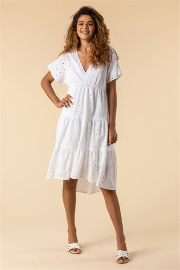 Ivory Broderie Tiered Smock Dress