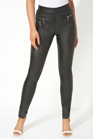 Faux Leather Zip Detail Trousers