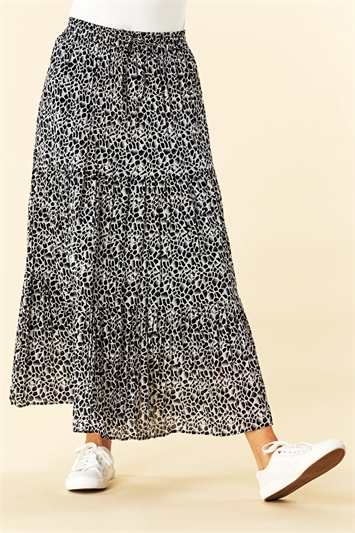 Animal Print Crinkle Maxi Skirt