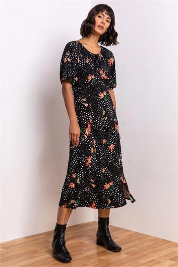 Black Spot Floral Print Midi Tea Dress, Image 1 of 5