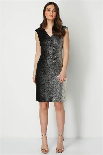 V-Neck Ombre Shimmer Dress
