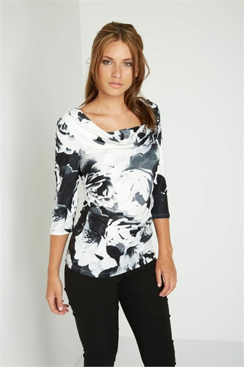 Blurred Floral Print Cowl Neck Top