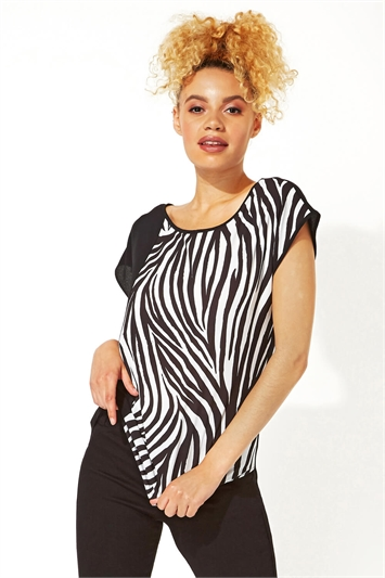 Zebra Print Contrast T-Shirt