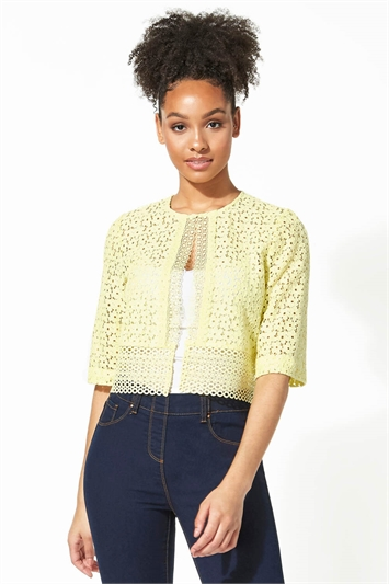 Border Lace Cropped Jacket