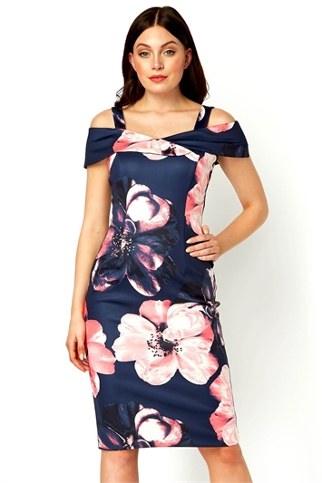 Floral Cold Shoulder Scuba Dress