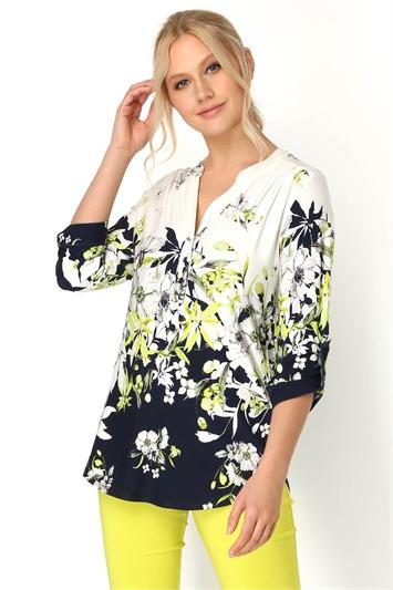 Floral Print Border Shirt