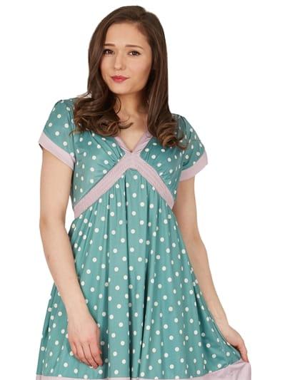 Ariadne Green Polka Day Dress