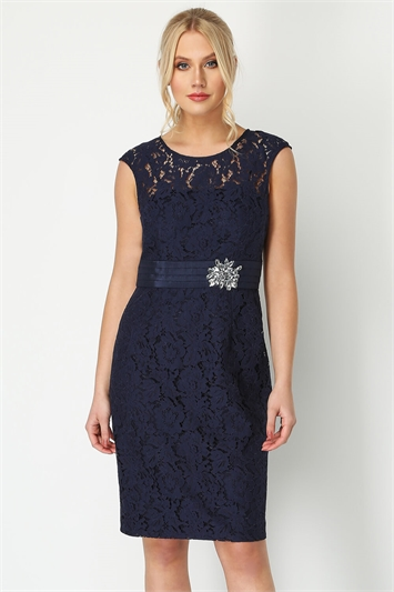 Lace Embellished Trim Dress