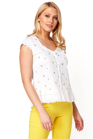Lemon Embroidered Crinkle Blouse