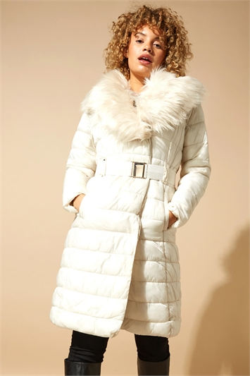 Faux Fur Belted Longline Padded Coat