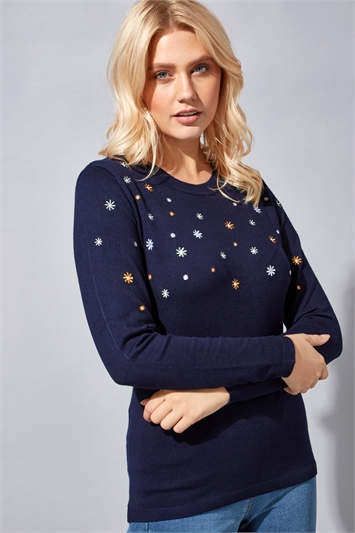 Daisy Floral Embroidered Jumper