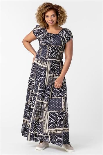 Navy Curve Shirred Patchwork Bardot Dress