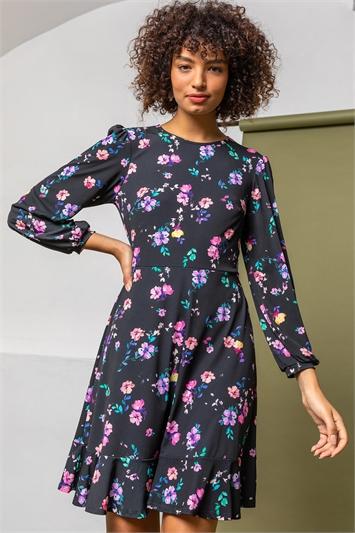 Black Floral Frill Hem Detail Dress, Image 1 of 5