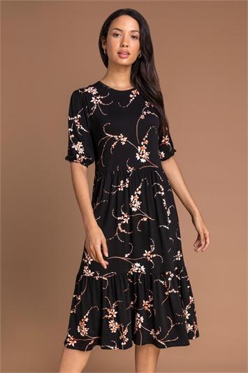 Black Floral Print Tiered Midi Dress