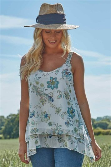 Floral Lurex Camisole Top
