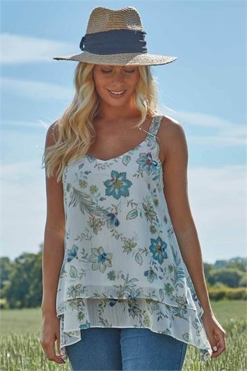 Floral Lurex Camisole Top