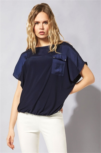 Satin Pocket Bubblehem Top