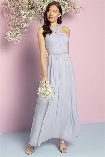 Bead Embellished Halterneck Maxi Dress