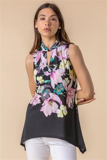 Twist Neck Floral Print Top