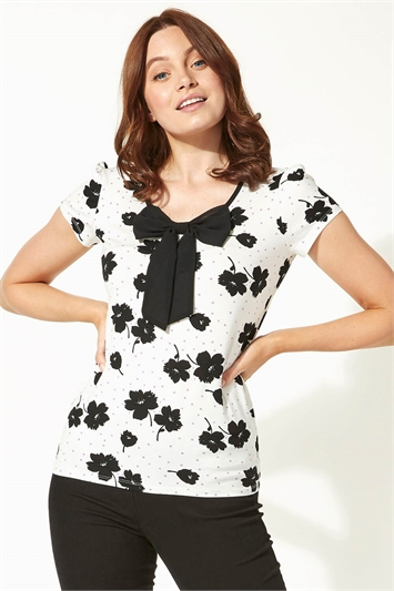 Bow Front Floral Print T-Shirt