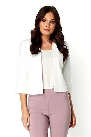 Ivory 3/4 Sleeve Rochette Jacket