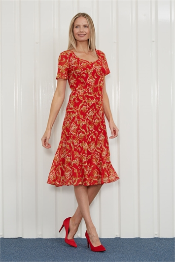 Gold Julianna Baroque Print Chiffon Dress