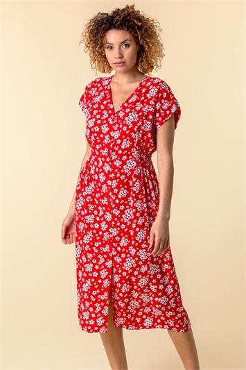 Floral Print Button Through Dress