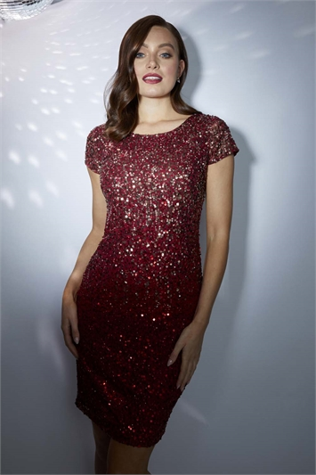 Ombre Sequin Shift Dress