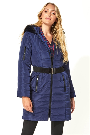 Belted Longline Padded Coat