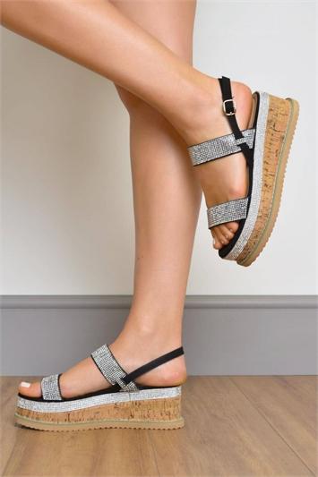 Black Faux Suede Diamante Strap Flatform Sandals