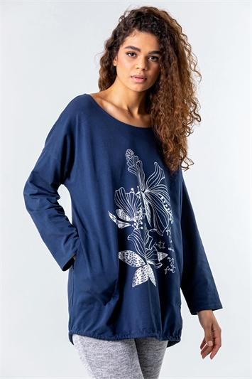 Floral Puff Print Pocket Sweatshirt