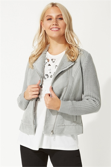 Faux Suede And Shearling Knitted Biker Jacket