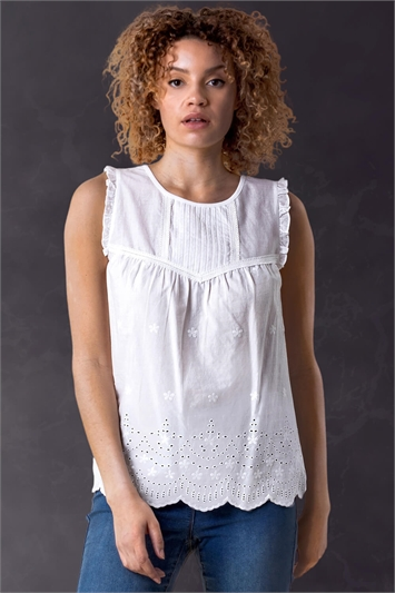 Ivory Embroidered Pintuck Detail Top