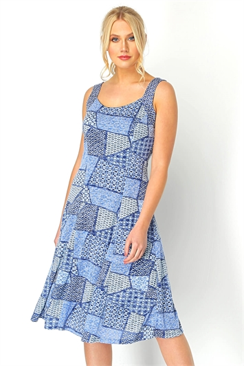 Geo Print Fit and Flare Dress
