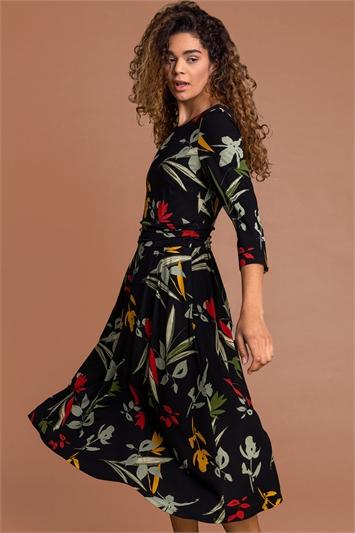 Black Floral Print Gathered Waist Dress