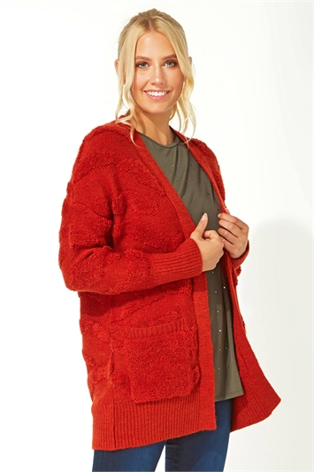 Longline Textured Pocket Cardigan