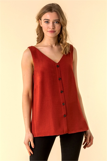 Button Front Sleeveless Top