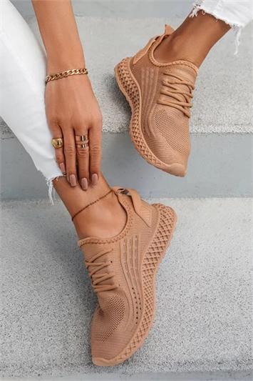 Mocha Lace Up Trainers