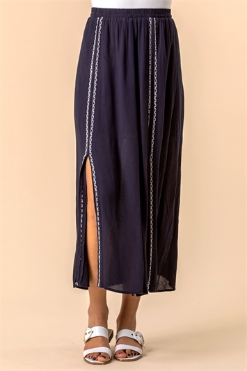 Embroidered Split Midi Skirt