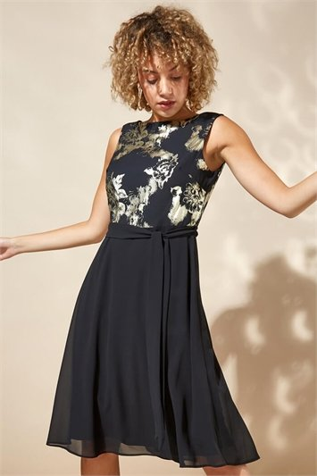 Contrast Floral Fit & Flare Dress