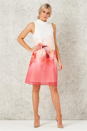 Floral Border Print Swing Dress