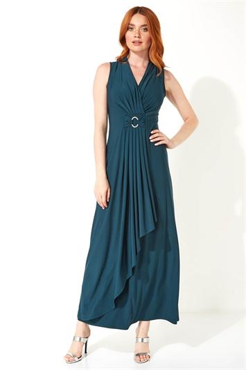 Waterfall Buckle Maxi Dress
