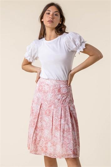 Pink Floral Print A-Line Cotton Skirt