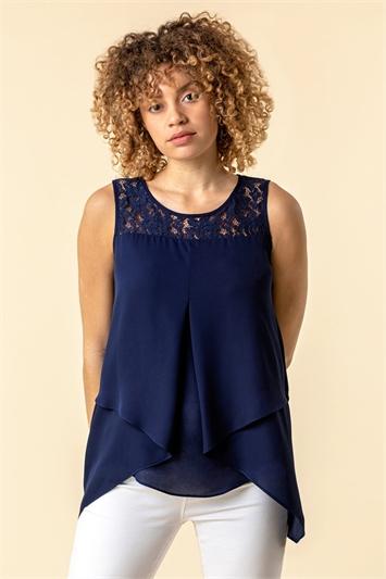 Lace Yoke Asymmetric Vest Top