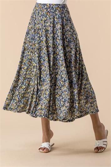 Multi Ditsy Floral Burnout Midi Skirt