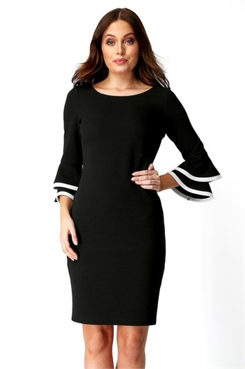 Double Fluted 3/4 Length Sleeve Dress