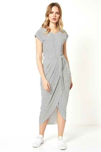 Stripe Print Wrap Around Skirt Dress