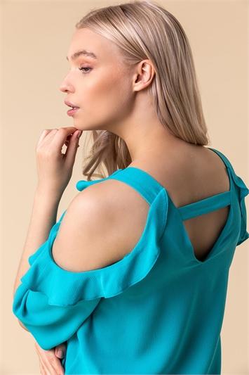 Frill Sleeve Cold Shoulder Top